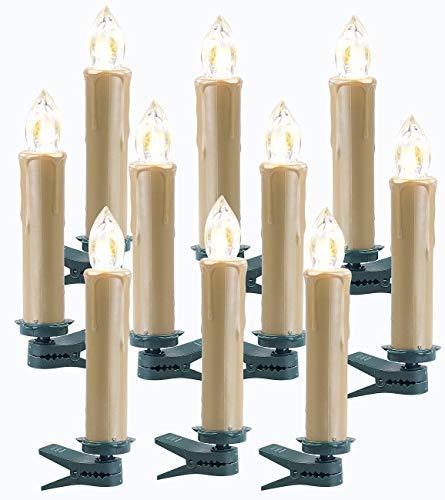 Lunartec Zubehör zu Kabellose LED-Baumkerzen: 10er-Erweiterungs-Set FUNK-Weihnachtsbaum-LED-Kerzen, golden (Kabellose Weihnachtsbeleuchtung)