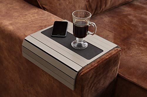 Sofa-Tisch mit Armlehnen und Eva-Basis, beschwerte Seiten, passt über quadratische Armlehnen (Fendy)