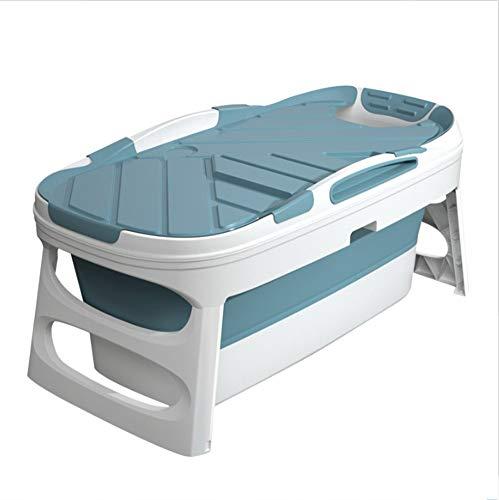 GLY Vasca da Bagno Pieghevole Vasca Portatile Vasca da Bagno Portatile per Adulti Piscina Neonato Vasca Idromassaggio da Interno, Box Doccia Vasca da Bagno Salute TPE Materiale, Blu