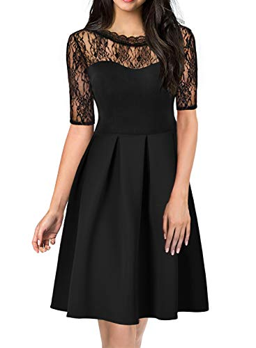 Women 40's 50s Vintage Round Neck Deep V Back Floral Lace 3/4 Sleeve Stretch Casual Flows Swing A-Line Dress for Wedding Party 156 Black L