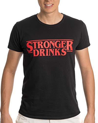 Stronger Drinks Camiseta Divertida para Hombre y Mujer, humorous funny tshirt for men and women, Nerd version of Stranger Things tshirt, Netflix humorous tshirt
