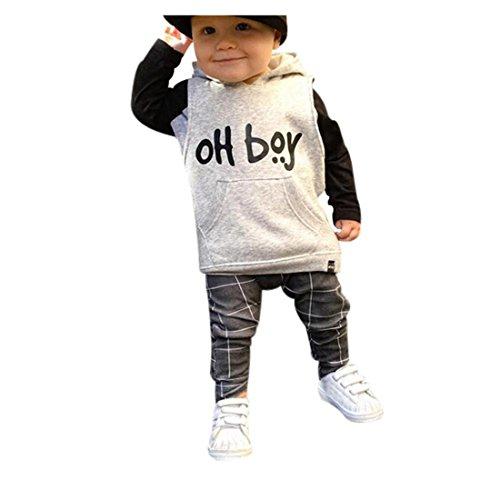 URSING Kleinkind Säugling Kleine Baby Boy Kleider Set Mode Kapuzenoberteile + Hosen Frühling Herbst Outfits (90, Weiß)