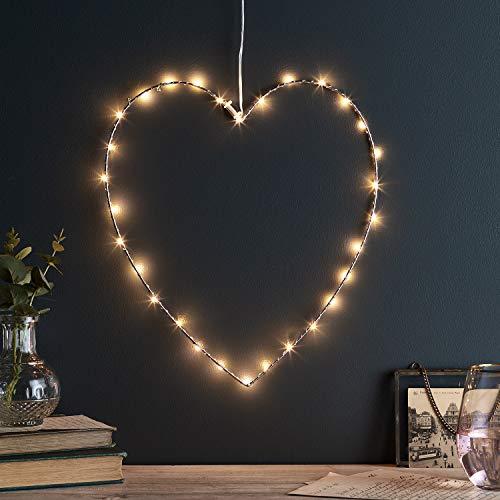Lights4fun 30er Micro LED Herz Silhouette mit Schalter am Kabel strombetrieben