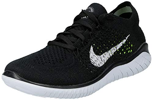 Nike Womens Free Rn Flyknit 2018 Low Top Lace Up Running, Black/White, Size 8.0
