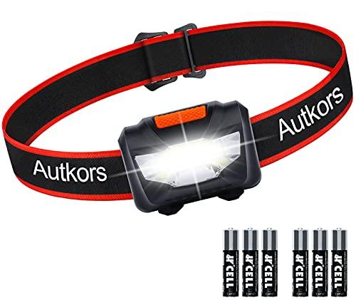 Linterna Frontal LED, Autkors Portátil Linterna Cabeza Super Brillante, Linterna Frontal Batería con 3 Modos, Impermeable y Adjustable para Niños, Adultos, Correr, Acampar (con 6 Pilas AAA)