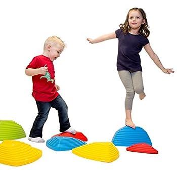 JumpOff Jo Rocksteady Balance Stepping Stones for Kids Promotes Balance & Coordination Set of 6 Balance Blocks Tall Set Primary Colors