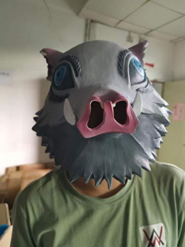 『嘴平伊之助 お面 鬼滅の刃 コスプレ グッズ ラテックスマスク 猪の被り物マスク イノシシ コスプレ 小道具』の6枚目の画像