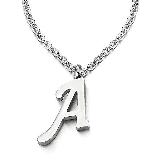 COOLSTEELANDBEYOND Nombre Inicial Letra del Alfabeto A a Z Colgante, Collar de Mujer Hombre, Acero Inoxidable, 50cm Cadena Cuerda