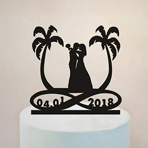 Funny Cake Topper for Wedding Beach Palm Tree Bride And Groom Infinity Symbol with Date Wedding Custom Name Wedding Gifts for Party Favor Decor Cake Topper