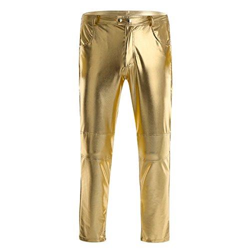 Agoky Herren Lange Hose Männer Enge Lederhose Schwarz Leggings Tights Pants Slim fit Wetlook Strumpfhosen mit Reißverschluss Glänzend Clubwear Gold XL(Taille 86cm)