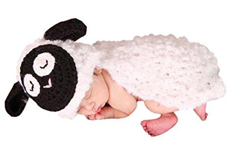 AKAAYUKO Baby/Kleinkinder Handgefertigt Häkelware Fotografie Kostüm (Weißes Schaf)