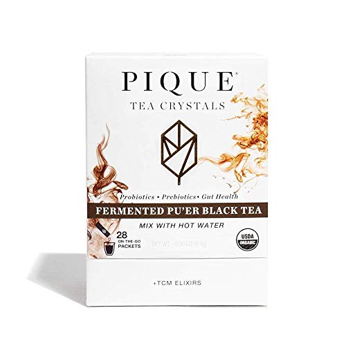 Pique Tea Organic Fermented Pu'erh Black Tea - Healthy Metabolism, Healthy Digestion - 1 Pack (28 Sticks)