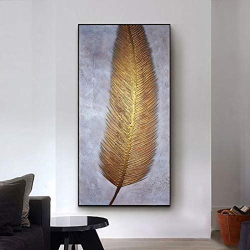 Abtsract Golden Feather Leaves Pintura al óleo impresa en lienzo Carteles e impresiones para la entrada Cuadros decorativos para el hogar Arte de la pared 82x40cm (32x16in) Sin marco