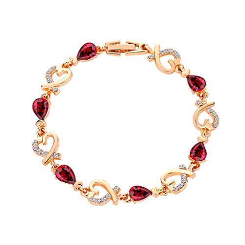 Sannysis Armband für Frauen Mädchen Herz Liebe Kristall Armband Silber Gold Rose Gold Armreif Valentinstag Hochzeit Brautschmuck (Rot)