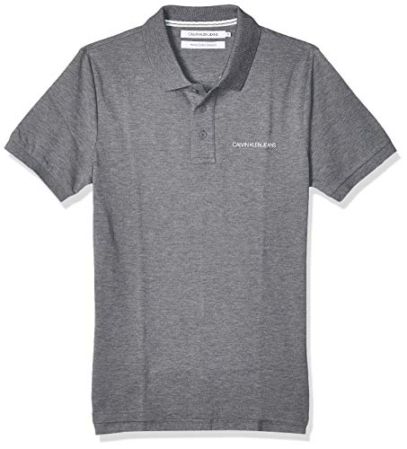 Calvin Klein Stretch Institutional Polo Slim Camisa, Mid Grey Heather, L para Hombre