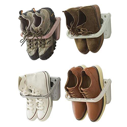 Baffect Schuhhalter faltbar Wand montiert 4 Stücke, Schuhregal Klappschuhregal Hängeregal für Schuhen Aufbewahrungsregal für Schuhen Wandregal für Schuhen ohne Bohren, 4 pcs grau