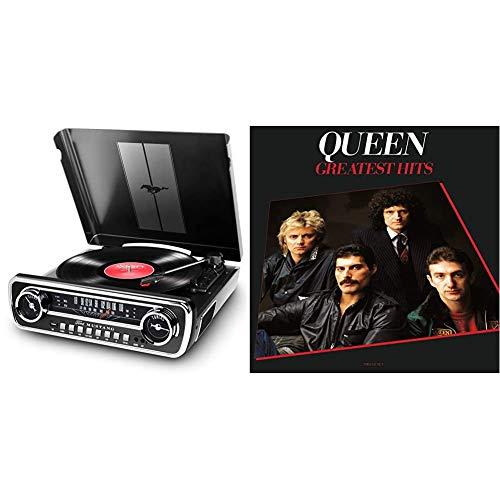 ION Audio Mustang LP - USB Plattenspieler mit Lautsprecher/Schallplattenspieler Retro mit Radio, Aux-Eingang und Vinyl zu MP3 Kovertierungssoftware & Greatest Hits (Remastered 2011) (2lp)