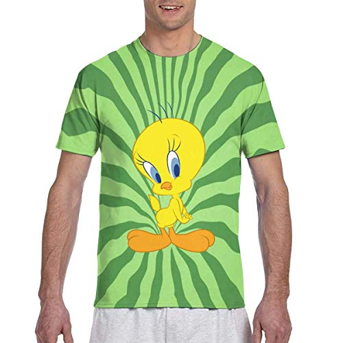 Actuallyhome Tweety Bird Herren Classic Full Size Doppelseitiger Druck Kurzarm T-Shirt T-Shirt mit Rundhalsausschnitt