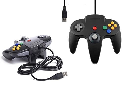 DARLINGTON & Sohns 2 Schwarze Controller für Nintendo 64 N64 USB Anschluss PC Computer Joystick Schwarz Gamepad Joypad