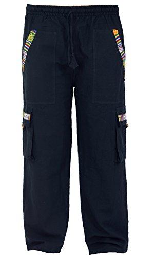 GURU SHOP Yogahose, Goa Hose im Ethnostyle, Herren, Schwarz, Baumwolle, Size:XL (52), Hosen Alternative Bekleidung