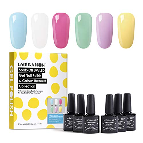 Lagunamoon Esmaltes Semipermanentes, 6pcs Kit de Uñas en Gel UV LED - Lighten the mood