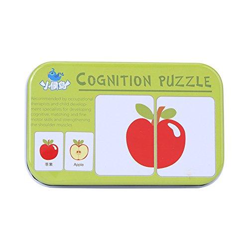32Pcs Puzzle de Tarjeta Flash Tarjeta de Educativo Infantil para Bebés y Niños Tarjetas de Transportes Animales Frutas y Necesidades Diarias en Caja de Hierro(Frutas)