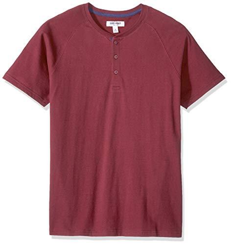 Amazon Brand - Goodthreads Men's Short-Sleeve Sueded Jersey Henley, Burgundy, Large Tall
