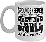N\A Taza de Jardinero El Mejor Trabajo del Mundo y yo lo poseo Premium 11 o Taza de café de cerámica, Regalo de Jardinero para Agradecimiento, cumpleaños, Navidad