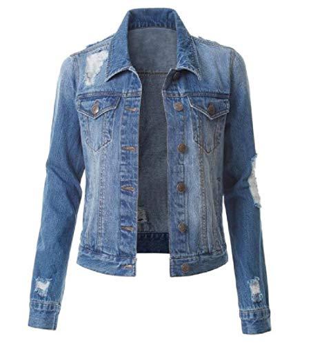 Yisism Women Slim Long Sleeve Destroyed Ripped Denim Jean Jacket Blue US S