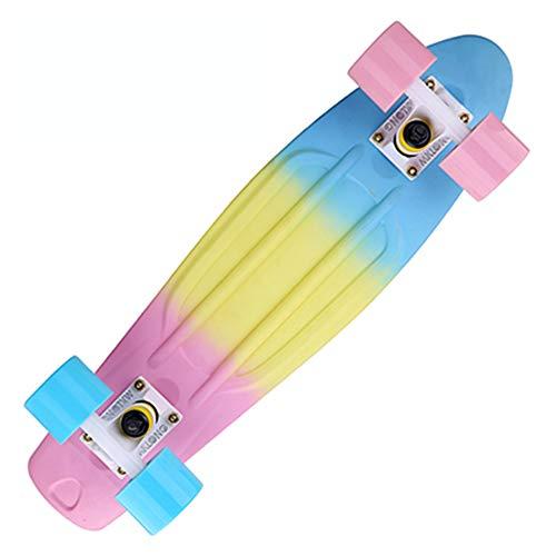 Colorido Arco Iris Patineta Completa Retro Niña Niño Crucero Mini Longboard Completo Skate Tabla Larga De Pescado Skate De La Rueda,Multicolor a