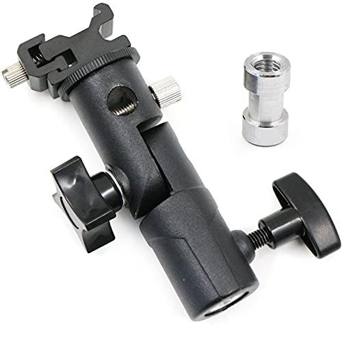 Soporte universal para zapata de flash con zapata de flash y espiga de 1/4' y 3/8' para trípode de lámpara, flashes y sombrillas reflectantes.