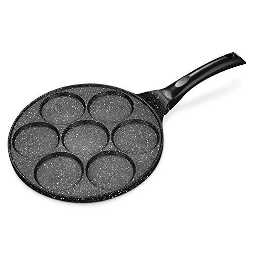 Navaris Augenpfanne Pancake Maker Blinipfanne - 27cm Pfanne Pfannkuchenpfanne mit 7 Löchern - Bratpfanne für alle Herdarten - Antihaftbeschichtung