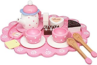 Wooden Tea Sets for Little Girls, Pretend Play for Toddlers Great Pink Tea Party Set for 3, 4, 5 Year Old Girls and Boys
