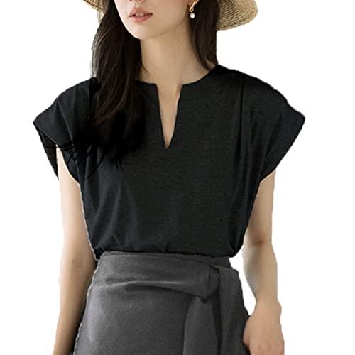 Camiseta con Manga de puño Superior no deformada para Mujer, Cuello en V, Camiseta Informal Diaria cómoda y Concisa de Verano