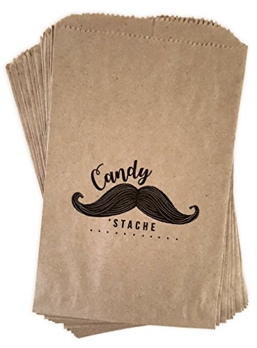 "Mustache baby shower candy or favor bags - mustache themed birthday party bags - 16 ct made out of 100% recycled paper""Candy 'Stache"""