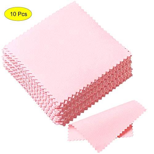 Silber Platin Schmuck Reinigungstuch Poliertuch für Sterling Silber Gold Platin, 10 Packung (Pink)