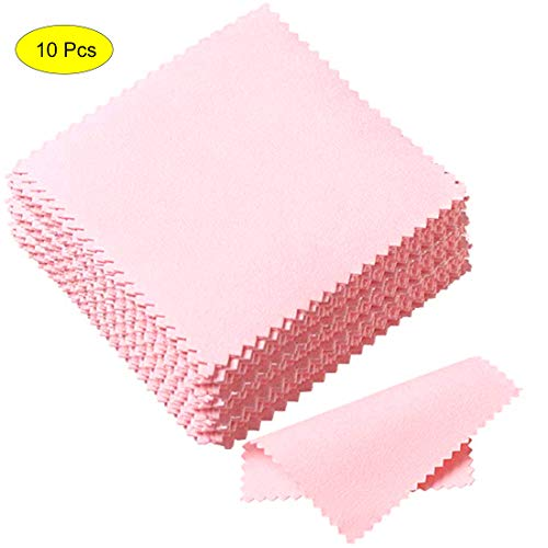 10 Pack Jewelry Cleaning Cloth, Polishing Cloth for Sterling Silver Gold Platinum (Pink)