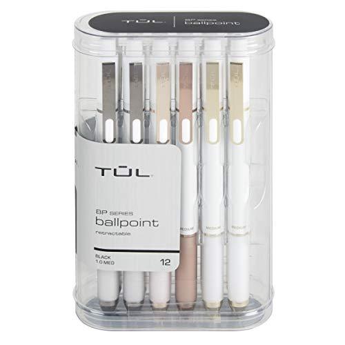 TUL BP3 Retractable Ballpoint Pens, Medium Point, 1.0 mm, Pearl White Barrel, Black Ink, Pack of 12 Pens