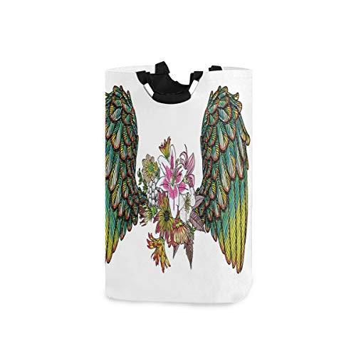 COFEIYISI Wäschesammler Wäschekorb Faltbarer Aufbewahrungskorb,Weinlese-Orchideen-Blumenstrauß mit Federflügeln Exotischer Frühlingsschönheit-Dschungel-Muster,Wäschesack - Wäschekörbe