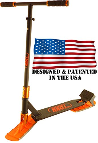 Railz Original Pro Snow Sled Ski Scooter for All Ages. Designed & Patented in The USA. Compact Winter Snow Kick & Ski Skooter (Black & OJ)