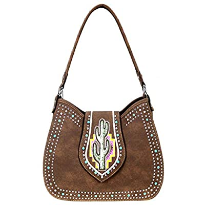 Montana West Hobo Bags Western Cactus Concealed Carry Purses MW860G-918 (Coffee)