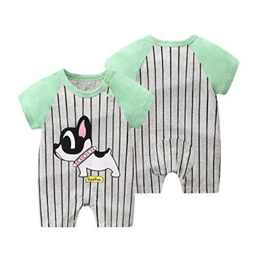 Baby Boy een stuk rompertjes, korte mouw pyjama in 100% katoen, groen en grijs Jumpsuit voor 0-24 maanden