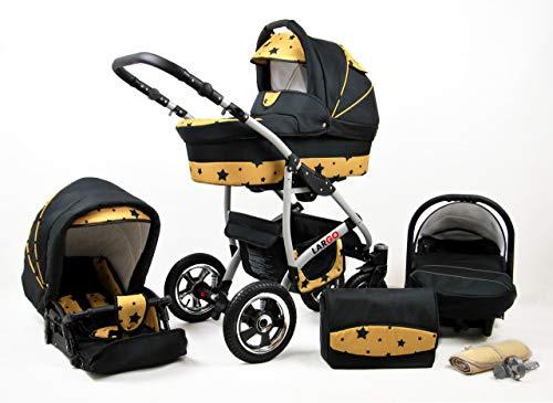 Kinderwagen Largo,3 in 1 -Set Wanne Buggy Babyschale Autositz mit Zubehör Gold Star