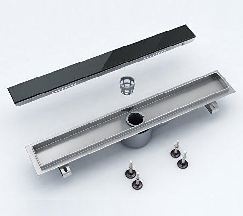 doporro Design Duschablaufrinne AR1-700 Duschablauf Duschrinne mit Glaseinsatz Ablaufgarnitur Breite 70 cm rostfrei robust langlebig