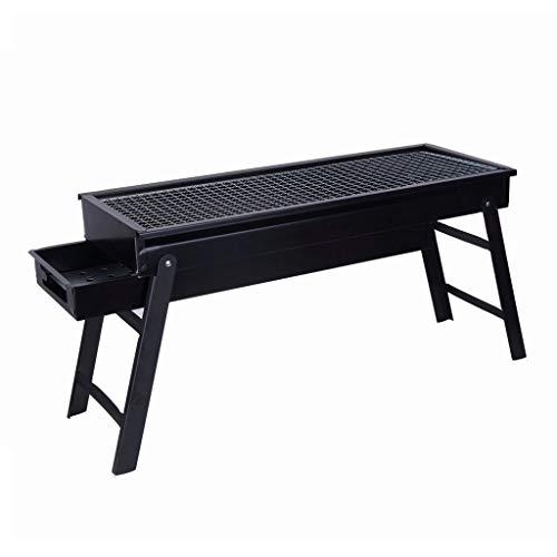 Barbecue@ BBQ del Carbone di Legna Mini Griglia della Famiglia Griglia dell'Acciaio Inossidabile Forno di Carbone Selvaggio Carbone (Color : Black, Size : 60 * 22 * 34cm)