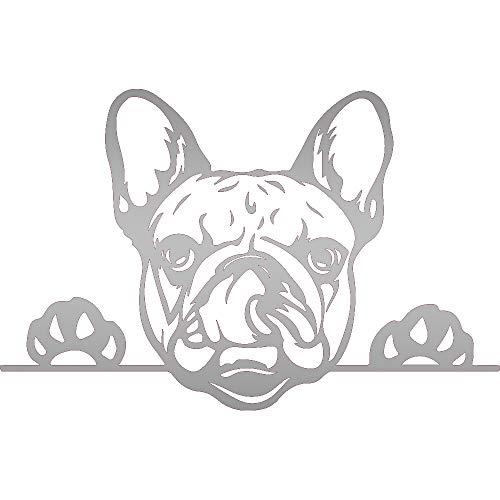 NBFU DECALS French Bulldog Peeking Paws Cute Tongue (Metallic Silver) (Set of 2) Premium Waterproof Vinyl Decal Stickers for Laptop Phone Accessory Helmet Car Window Bumper Mug Tuber Cup Door Wall