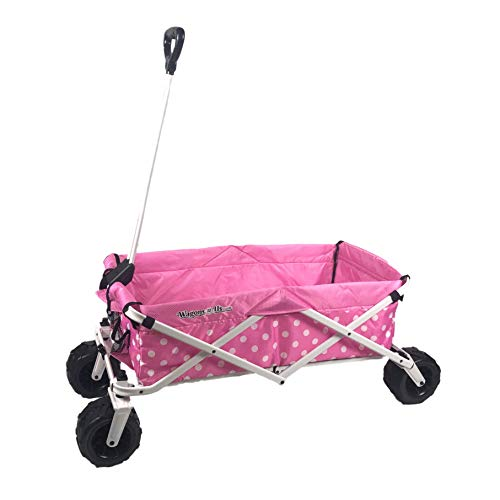 WagonsRus Limited Edition AllTerrain Collapsible Folding Utility Wagon Beach Outdoor Camping Sports Pink Polka Dot
