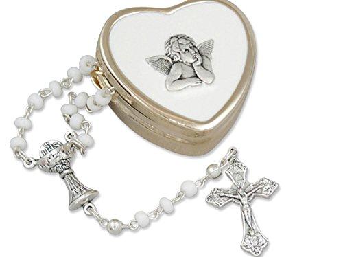zu ersten heiligen Kommunion....zierlicher Rosenkranz im goldfarbenen Herzdöschen, Raphael Engel
