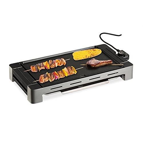 Relaxdays Plancha Cocina Desmontable, Grill Eléctrico 1500 W, Parrilla para Asar, Aluminio,...