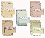 ELTNEGSA 45 Pcs Cute Lovely Writing Paper Letter Set (30 stationery paper + 15 envelopes) 5 Different Style